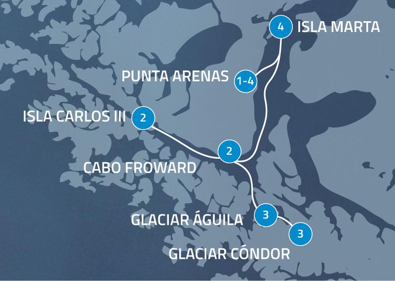 Detalle Itinerario Crucero Australis