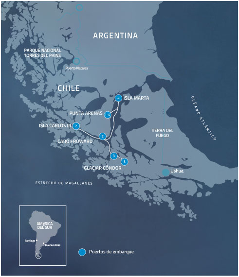 Itinerario Crucero Australis