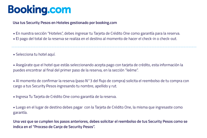 como canjear tus security Pesos en booking.com